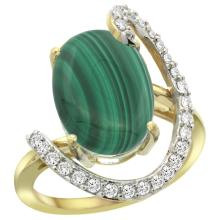 Natural 7.41 ctw Malachite & Diamond Engagement Ring 14K Yellow Gold - SC#R287971Y47