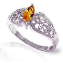 Genuine 0.2 ctw Citrine Ring Jewelry 14KT White Gold - GG#4615