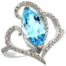 Natural 3.33 ctw Swiss-blue-topaz & Diamond Engagement Ring 14K White Gold - SC#R275571W04
