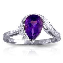Genuine 1.52 ctw Amethyst & Diamond Ring Jewelry 14KT White Gold - GG#1212