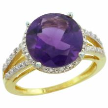 Natural 5.34 ctw Amethyst & Diamond Engagement Ring 10K Yellow Gold - SC#CY901110