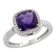 Natural 3.94 ctw Amethyst & Diamond Engagement Ring 10K White Gold - SC#CW901151