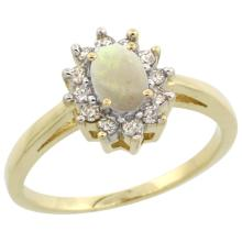 Natural 0.47 ctw Opal & Diamond Engagement Ring 10K Yellow Gold - SC#CY920103