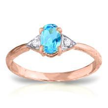 Genuine 0.46 ctw Blue Topaz & Diamond Ring Jewelry 14KT Rose Gold - GG#3065