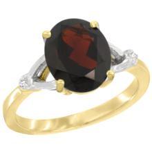 Natural 2.41 ctw Garnet & Diamond Engagement Ring 10K Yellow Gold - SC#CY910112