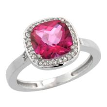 Natural 3.94 ctw Pink-topaz & Diamond Engagement Ring 14K White Gold - SC#CW406151