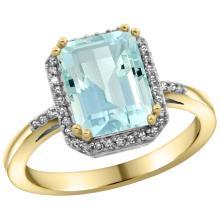 Natural 2.63 ctw Aquamarine & Diamond Engagement Ring 10K Yellow Gold - SC#CY912122