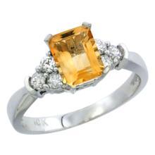 Natural 1.48 ctw citrine & Diamond Engagement Ring 14K White Gold - SC#CW409169