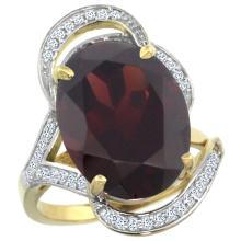 Natural 11.23 ctw garnet & Diamond Engagement Ring 14K Yellow Gold - SC#R309971Y10