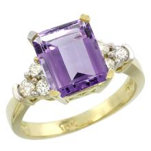 Natural 2.86 ctw amethyst & Diamond Engagement Ring 14K Yellow Gold - SC#CY401167