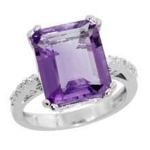 Natural 5.48 ctw amethyst & Diamond Engagement Ring 10K White Gold - SC#CW901141