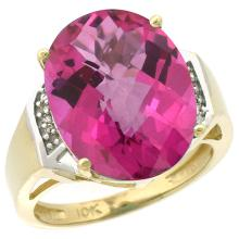 Natural 11.02 ctw Pink-topaz & Diamond Engagement Ring 14K Yellow Gold - SC#CY406131