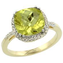 Natural 4.11 ctw Lemon-quartz & Diamond Engagement Ring 14K Yellow Gold - SC#CY427121