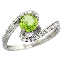 Natural 0.99 ctw peridot & Diamond Engagement Ring 10K White Gold - SC#10D312723W11