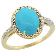 Natural 2.42 ctw Turquoise & Diamond Engagement Ring 10K Yellow Gold - SC#CY918111