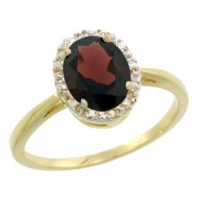 Natural 1.22 ctw Garnet & Diamond Engagement Ring 14K Yellow Gold - SC#CY410101