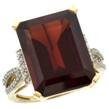 Natural 12.14 ctw Garnet & Diamond Engagement Ring 14K Yellow Gold - SC#CY410134