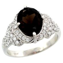 Natural 2.92 ctw smoky-topaz & Diamond Engagement Ring 14K White Gold - SC#R183071W07