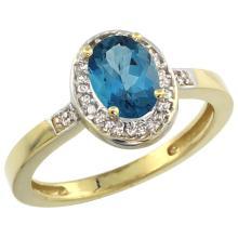 Natural 1.08 ctw London-blue-topaz & Diamond Engagement Ring 14K Yellow Gold - SC#CY405150