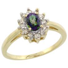 Natural 0.67 ctw Mystic-topaz & Diamond Engagement Ring 10K Yellow Gold - SC#CY908103