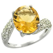Natural 6.45 ctw citrine & Diamond Engagement Ring 14K White Gold - SC#R293431W09