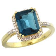 Natural 2.63 ctw London-blue-topaz & Diamond Engagement Ring 10K Yellow Gold - SC#CY905122