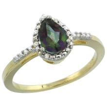 Natural 1.53 ctw mystic-topaz & Diamond Engagement Ring 14K Yellow Gold - SC#CY408152