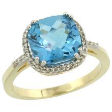 Natural 4.11 ctw Swiss-blue-topaz & Diamond Engagement Ring 10K Yellow Gold - SC#CY904121