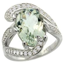 Natural 6.22 ctw green-amethyst & Diamond Engagement Ring 14K White Gold - SC#R308101W02