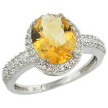 Natural 2.56 ctw Citrine & Diamond Engagement Ring 14K White Gold - SC#CW409138