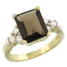 Natural 2.86 ctw smoky-topaz & Diamond Engagement Ring 14K Yellow Gold - SC#CY407167