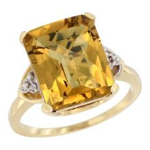 Natural 5.44 ctw whisky-quartz & Diamond Engagement Ring 10K Yellow Gold - SC#CY926177