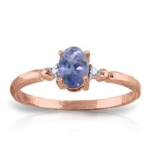 Genuine 0.46 ctw Tanzanite & Diamond Ring Jewelry 14KT Rose Gold - GG#1332