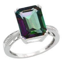 Natural 5.42 ctw Mystic-topaz & Diamond Engagement Ring 14K White Gold - SC#CW408149