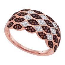 10K Rose Gold Jewelry 0.33 ctw White Diamond & Cognac Diamond Ladies Ring - ID#F36M2-WGD88442