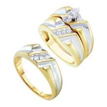 10K Yellow Gold Jewelry 0.25 ctw Diamond Trio Ring Set - ID#Y51X6-WGD39003
