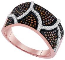 10K Rose Gold Jewelry 0.50 ctw White Diamond & Cognac Diamond Ladies Ring - ID#N51H6-WGD93196