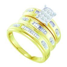 10K Yellow Gold Jewelry 0.43 ctw Diamond Trio Ring Set - ID#W42K2-WGD56635