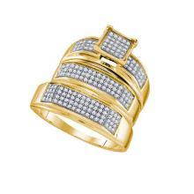 10K Yellow Gold Jewelry 0.51 ctw Diamond Trio Ring Set - ID#R54L1-WGD63544