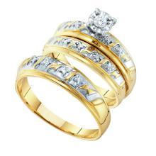 10K Yellow Gold Jewelry 0.07 ctw Diamond Trio Ring Set - ID#K24T1-WGD15485