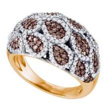 10K Rose Gold Jewelry 1.09 ctw White Diamond & Cognac Diamond Ladies Ring - ID#V66F2-WGD72636