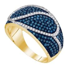 10K Yellow Gold Jewelry 1.1 ctw White Diamond & Blue Diamond Ladies Ring - ID#L54Y1-WGD89498