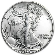 One 1990 1 oz Silver American Eagle BU