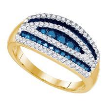 10K Yellow Gold Jewelry 0.70 ctw White Diamond & Blue Diamond Ladies Ring - ID#H36W2-WGD79349