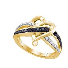 10K Yellow Gold Jewelry 0.36 ctw White Diamond & Black Diamond Ladies Ring - ID#K24T1-WGD74369