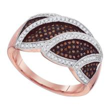10K Rose Gold Jewelry 0.40 ctw White Diamond & Cognac Diamond Ladies Ring - ID#L42Y2-WGD88370