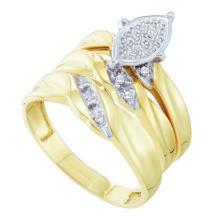 10K Yellow Gold Jewelry 0.10 ctw Diamond Trio Ring Set - ID#F24M1-WGD56615