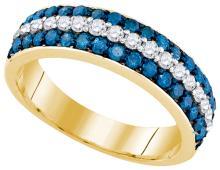 10K Yellow Gold Jewelry 1.0 ctw White Diamond & Blue Diamond Ladies Ring - ID#J48R1-WGD84684