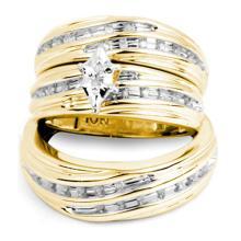 10K Yellow Gold Jewelry 0.25 ctw Diamond Trio Ring Set - ID#L42Y2-WGD21239