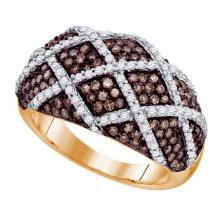 10K Rose Gold Jewelry 1.45 ctw White Diamond & Cognac Diamond Ladies Ring - ID#W66K2-WGD72638